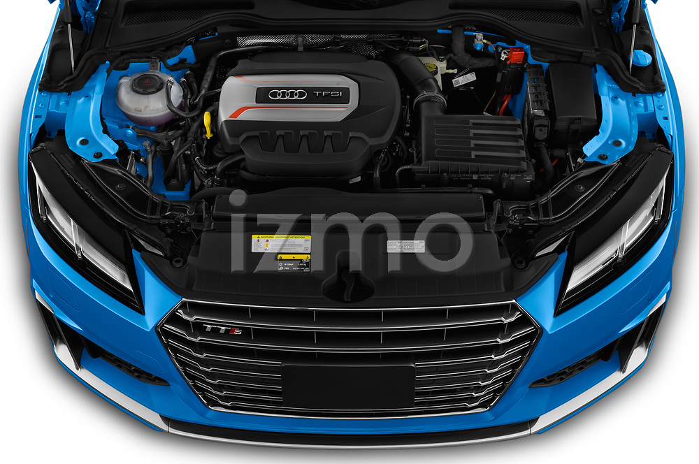 Car stock 2019 Audi TTS-Coupe Base 3 Door Coupe engine high angle detail view