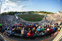 A crowd of 4,035 fans were on hand to watch the South Atlantic League game between the Delmarva Shorebirds and the Kannapolis Intimidators at Kannapolis Intimidators Stadium on April 23, 2016 in Kannapolis, North Carolina.  The Shorebirds defeated the Intimidators 4-2.  (Brian Westerholt/Four Seam Images)
