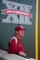 Oklahoma Sooners pitching coach John Giese before the NCAA baseball game against the Texas Longhorns on April 5, 2013 at UFCU DischFalk Field in Austin Texas. Oklahoma defeated Texas 2-1. (Andrew Woolley/Four Seam Images).