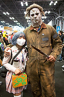 NEW YORK, USA - October 3: Cosplayers pose during day one of New York Comic Con at the Jacob K. Javits Convention Center on Oct. 3, 2019 in New York.<br /> The 2019 New York Comic-Con at the Jacob K. Javits Convention Center Day 1 with the latest in superhero movies, sci-fi shows, animation, video games, comic book releases available to attendees.<br /> (Photo by Luis Boza/VIEWpress/Corbis via Getty Images)