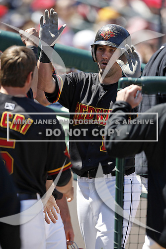 May 25, 2009:  Jason Pridie (11) of the Rochester Red Wings, International League Triple-A affiliate of the Minnesota Twins, is greeted in the dugout after scoring a run during a game at Frontier Field in Rochester, NY.  Photo by:  Mike Janes/Four Seam Images