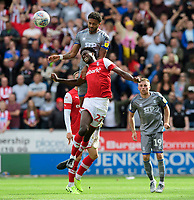 Lincoln City's Bruno Andrade vies for possession with Rotherham United's Matthew Olosunde<br /> <br /> Photographer Chris Vaughan/CameraSport<br /> <br /> The EFL Sky Bet Championship - Rotherham United v Lincoln City - Saturday 10th August 2019 - New York Stadium - Rotherham<br /> <br /> World Copyright © 2019 CameraSport. All rights reserved. 43 Linden Ave. Countesthorpe. Leicester. England. LE8 5PG - Tel: +44 (0) 116 277 4147 - admin@camerasport.com - www.camerasport.com