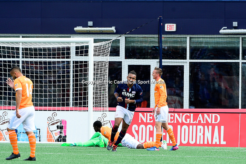 Saturday, April 8, 2017: New England Revolution forward Juan Agudelo (17) reacts to his goal during the MLS game between Houston Dynamo and the New England Revolution held at Gillette Stadium in Foxborough Massachusetts. New England defeats Houston 2-0. Eric Canha/CSM