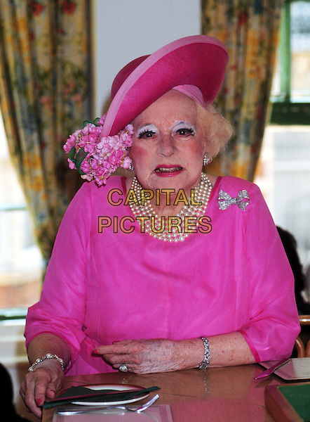BARBARA CARTLAND .Ref: 534.author, pearls, pink, hat, eyeshadow, half length, half-length.*RAW SCAN - photo will be adjusted for publication*.www.capitalpictures.com.sales@capitalpictures.com.© Capital Pictures