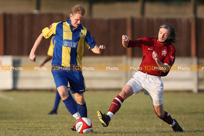 Jack Barry of Romford and Luke Hammond of Leiston - Romford vs Leiston - Ryman League Division One North Football at Mill Field, Aveley FC - 21/10/11 - MANDATORY CREDIT: Gavin Ellis/TGSPHOTO - Self billing applies where appropriate - 0845 094 6026 - contact@tgsphoto.co.uk - NO UNPAID USE.