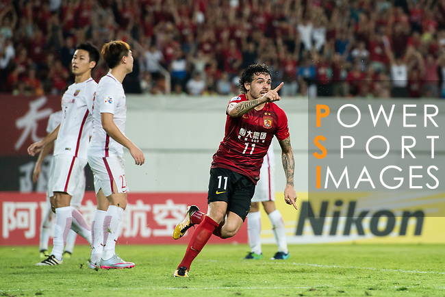 Guangzhou Forward Ricardo Goulart celebrating his score during the AFC Champions League 2017 Quarter-Finals match between Guangzhou Evergrande (CHN) vs Shanghai SIPG (CHN) at the Tianhe Stadium on 12 September 2017 in Guangzhou, China. Photo by Marcio Rodrigo Machado / Power Sport Images