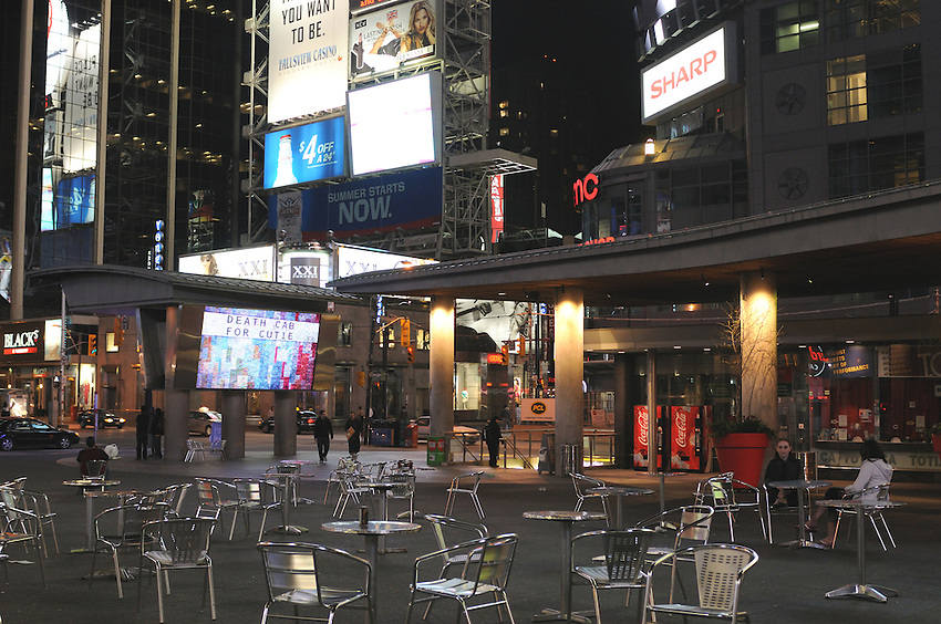 A quiet summer evening, Yonge Dundas Square, Night, Toronto, Ontario, Canada