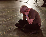 May 19, 2018. Durham, North Carolina.<br /> <br /> An attendee listens to the Stephen O'Malley and Deradoorian 4 hour durational set at the 21c Hotel. <br /> <br /> Moogfest 2018 showcases 4 days of music, art and technology spread out amongst venues in and around downtown Durham.