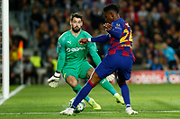 27th November 2019; Camp Nou, Barcelona, Catalonia, Spain; UEFA Champions League Football, Barcelona versus Borussia Dortmund;  Junior Firpo gets close to scoring but is foiled by the keeper Bürki of Dortmund - Editorial Use