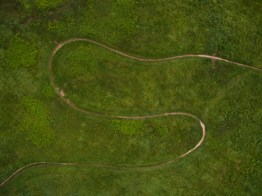Aerial drone photo of singletrack mountain bike trail in  Marquette, Michigan.