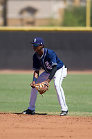 San Diego Padres second baseman Esteury Ruiz (3) during an Instructional League game against the Texas Rangers on September 20, 2017 at Peoria Sports Complex in Peoria, Arizona. (Zachary Lucy/Four Seam Images)