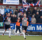 Andy Kirk celebrates his goal for Dunfermline