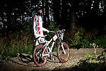 US National Downhill Champion, Ben Kubas, downhill mountain biking at Killington Resort, Killington, Vermont, 2009.  This image has a signed model release.