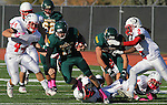 SPEARFISH, SD - OCTOBER 26, 2013:  Black Hills State quarterback Ward Anderson #17 scampers through Colorado State - Pueblo defenders during their Rocky Mountain Athletic Conference game Saturday at Lyle Hare Stadium in Spearfish, S.D. CSU-Pueblo won 51-17. (Photo by Dick Carlson/Inertia)