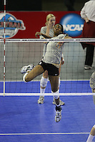 15 December 2007: Stanford Cardinal Foluke Akinradewo during Stanford's 2007 NCAA Division I Women's Volleyball Final Four closed practice at ARCO Arena in Sacramento, CA.