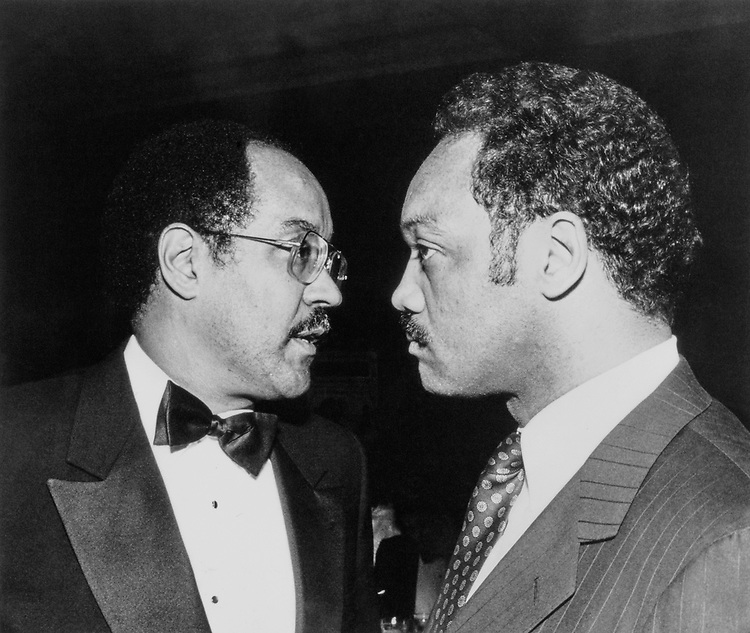 Rep. William H. Gray, D-Pa. with Jesse Jackson in Mar., 1988. (Photo by Andrea Mohin/CQ Roll Call)