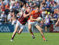 20th July 2013; Brendan Donaghy, Armagh, in action against Michael Martin, Galway. All Ireland Football Senior Championship Round 3, Galway v Armagh, Pearse Stadium, Galway