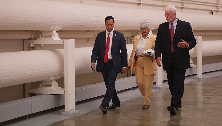 UNITED STATES - Sept 26: Rep. Joaquin Castro, D-TX., Rep. Grace Napolitano, D-CA., and Rep. George Miller, D-CA., walk back to the House Office Buildings from the U.S. Capitol on September 26, 2013. (Photo By Douglas Graham/CQ Roll Call)