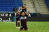 19th July 2020; RCDE Stadium, Barcelona, Catalonia, Spain; La Liga Football, Real Club Deportiu Espanyol de Barcelona versus Celta Vigo;  Murillo of Celta pryas at the end of the match as his team escapes relegation by a single point