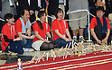June 14, 2012, Tokyo, Japan - Stickbombsexpolodein a chain reaction during a domino-like demonstration which breaks the Guiness World Records with 10,000 wooden sticks at the Tokyo Toy Show on display at the Tokyo Toy Show on Thursday, June 14, 2012, in Tokyo. The largest domestic exhibition of latest toys runs through Sunday, expecting to draw some 150,000 visitors including buyers from overseas. (Photo by Natsuki Sakai/AFLO) AYF -mis-