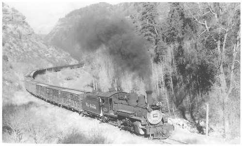 Right 3/4 view of K-27 #459 pulling train of empty stock cars in canyon.<br /> RGS  w. of Durango, CO  Taken by Perry, Otto C. - 10/7/1941