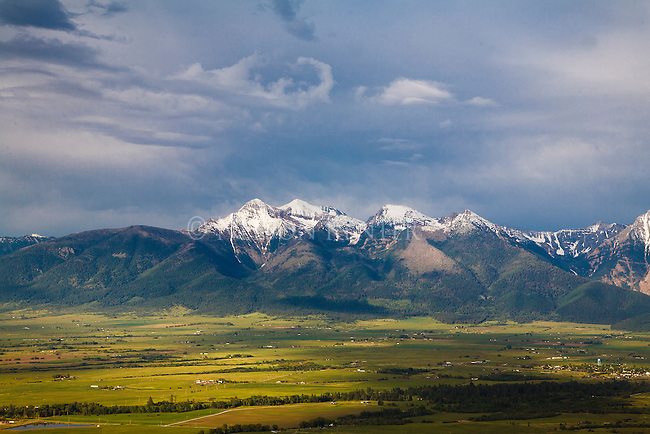 early summer in the mission valley in western montana with the snowcapped mission mountains