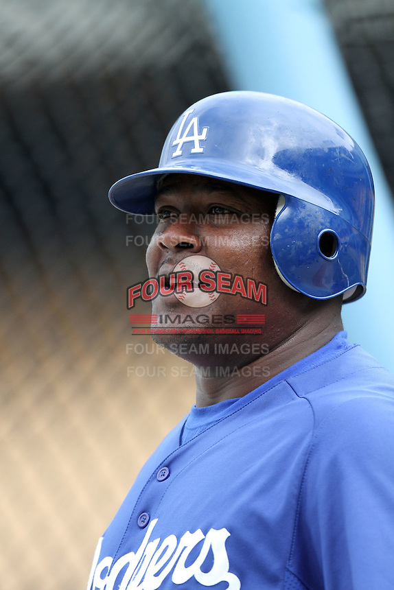 Juan Uribe #5 of the Los Angeles Dodgers before game against the San Francisco Giants at Dodger Stadium in Los Angeles,California on April 3, 2011. Photo by Larry Goren/Four Seam Images