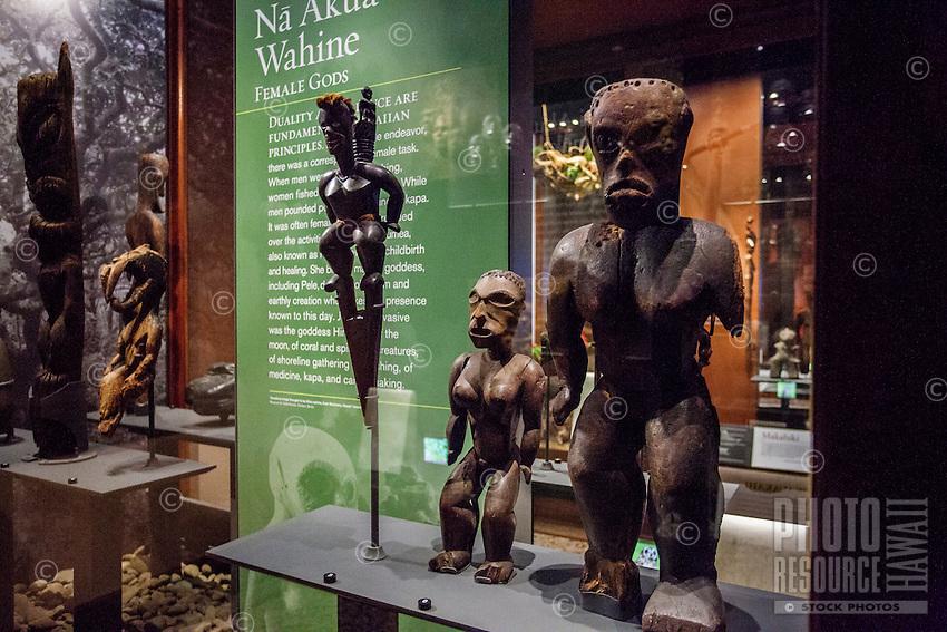 """A Hawaiian female deity tiki exhibit called """"Na Akua Wahine"""" at the Bishop Museum, Honolulu, O'ahu."""