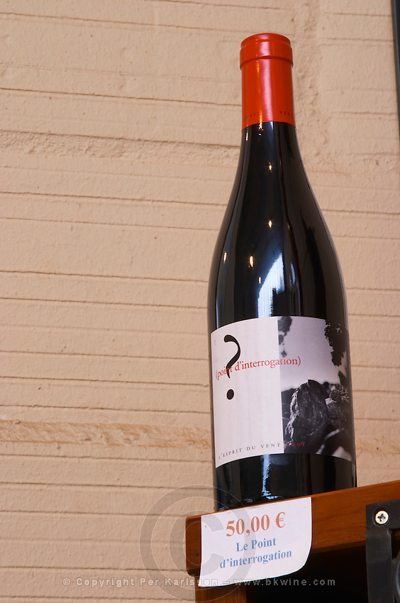Cuvee Le point d'interrogation - the question mark. Embres et Castelmaure Cave Cooperative co-operative. Les Corbieres. Languedoc. The wine shop and tasting room. France. Europe. Bottle.