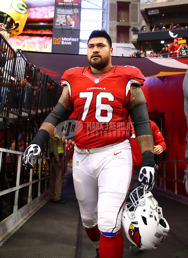 Dec 27, 2015; Glendale, AZ, USA; Arizona Cardinals guard Mike Iupati against the Green Bay Packers at University of Phoenix Stadium. Mandatory Credit: Mark J. Rebilas-USA TODAY Sports