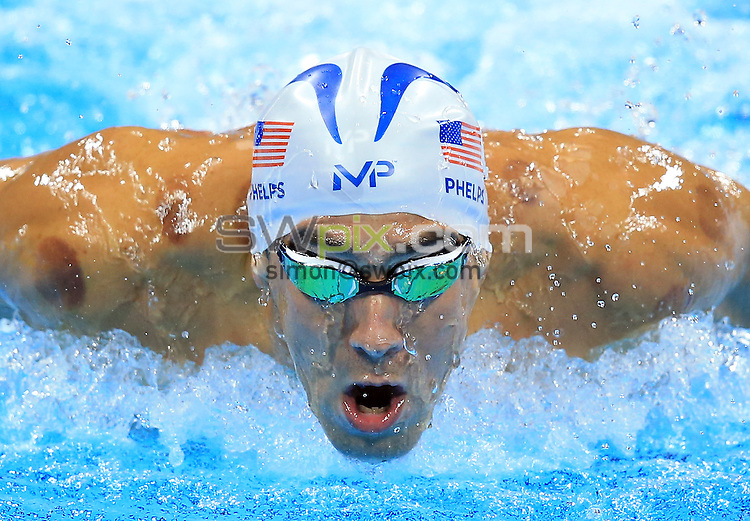 RIO DE JANEIRO, BRAZIL - AUGUST 10:  Michael Phelps of the USA competes in the Men's 200m Individual Medley Heats on Day 5 of the Rio 2016 Olympic Games at the Olympic Aquatics Stadium on August 10, 2016 in Rio de Janerio, Brazil.  (Photo by Vaughn Ridley/SWpix.com)