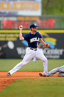 New Orleans Zephyrs shortstop Matt Downs #12 turns a double play during a game against the Round Rock Express on April 15, 2013 at Zephyr Field in New Orleans, Louisiana.  New Orleans defeated Round Rock 3-2.  (Mike Janes/Four Seam Images)