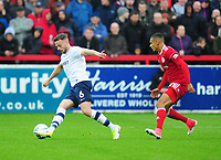 Preston North End's Andy Boyle under pressure from Accrington Stanley's Kayden Jackson<br /> <br /> Photographer Kevin Barnes/CameraSport<br /> <br /> The Carabao Cup - Accrington Stanley v Preston North End - Tuesday 8th August 2017 - Crown Ground - Accrington<br />  <br /> World Copyright &copy; 2017 CameraSport. All rights reserved. 43 Linden Ave. Countesthorpe. Leicester. England. LE8 5PG - Tel: +44 (0) 116 277 4147 - admin@camerasport.com - www.camerasport.com