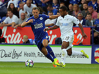 Pictured (L-R): Danny Drinkwater of Leicester City against Wayne Routledge of Swansea Saturday 27 August 2016<br /> Re: Swansea City FC v Leicester City FC Premier League game at the King Power Stadium, Leicester, England, UK