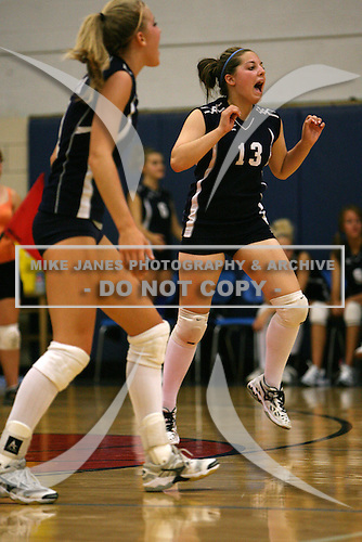 Attica Lady Devils varsity volleyball against the Pembroke Dragons at Attica High School on September 19, 2007 in Attica, New York.  (Copyright Mike Janes Photography)