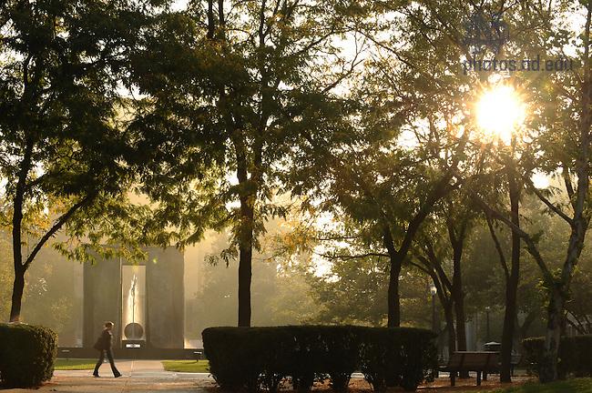 Stonehenge on a misty morning..Photo by Matt Cashore/University of Notre Dame