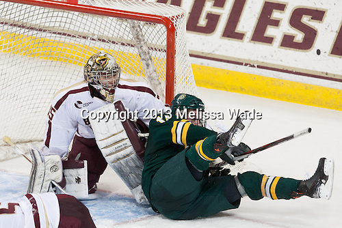 Parker Milner (BC - 35), Jacob Fallon (UVM - 17) - The Boston College Eagles defeated the University of Vermont Catamounts 4-1 on Friday, February 1, 2013, at Kelley Rink in Conte Forum in Chestnut Hill, Massachusetts.