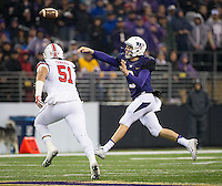 Jake Browning fires a pass.  Browning finished the game with 257 yards passing.
