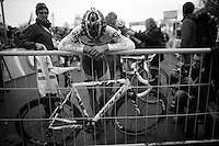 British Champion Ian Field (GBR/Hargroves Cycles) needs some support after finishing<br /> <br /> Superprestige Gavere 2014
