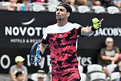 11th January 2018, Sydney Olympic Park Tennis Centre, Sydney, Australia; Sydney International Tennis,quarter final; Fabio Fognini (ITA) questions a line call in his match against Adrian Mannarino (ITA)