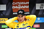New race leader Gianni Moscon (ITA) Team Sky wears the Yellow Jersey on the podium at the end of Stage 4 of the 2018 Criterium du Dauphine 2018 running 181km from Chazey sur Ain to Lans en Vercors, France. 7th June 2018.<br /> Picture: ASO/Alex Broadway | Cyclefile<br /> <br /> <br /> All photos usage must carry mandatory copyright credit (&copy; Cyclefile | ASO/Alex Broadway)
