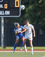 Boston Breakers forward Kyah Simon (17) and Western New York Flash midfielder Sarah Huffman (14) battle for head ball.  In a National Women's Soccer League (NWSL) match, Boston Breakers (blue) tied Western New York Flash (white), 2-2, at Dilboy Stadium on August 3, 2013.