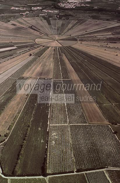 Europe/France/Languedoc-Roussillon/34/Hérault/Oppidum d'Ensérune: L'ancien étang de Montady asséché depuis 1247   -Vue aérienne