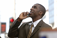 Businessman on cell phone.