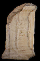 Roman altar in alabaster with dedication inscription made by Lucius Caecilius Vitalis to the goddess Venus, found near the Capitoline Temple in Volubilis, Northern Morocco. Volubilis was founded in the 3rd century BC by the Phoenicians and was a Roman settlement from the 1st century AD. Volubilis was a thriving Roman olive growing town until 280 AD and was settled until the 11th century. The buildings were largely destroyed by an earthquake in the 18th century and have since been excavated and partly restored. Volubilis was listed as a UNESCO World Heritage Site in 1997. Picture by Manuel Cohen
