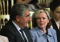 18 May 2016 - London England - Imelda Staunton and Jim Carter sitting inside the Royal Gallery during the State Opening of Parliament, Houses of Parliament, London. The State Opening of Parliament marks the formal start of the parliamentary year and the Queen's Speech sets out the government's agenda for the coming session. Photo Credit: ALPR/AdMedia