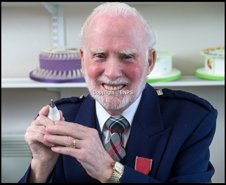 BNPS.co.uk (01202 558833)Pic: PhilYeomans/BNPS<br /> <br /> Queens cake maker finally hangs up his piping bag...<br /> <br /> Royal cake maker Eddie Spence(85) has finally had to retire after an amazing 71 year career making the spectacular cakes for many Royal occasions from weddings, anniversaries and jubilee's.<br /> <br /> Eddie Spence's renowned icing skills earned him the chance to decorate numerous cakes for major Royal occasions, including the Queen's Diamond Jubilee and Charles and Diana's wedding.<br /> <br /> He also created the cake for the Queen and Prince Philip's golden wedding anniversary - 50 years after he beat the eggs for the cake used for their wedding in 1947 as an apprentice. <br /> <br /> In 2000 Eddie was awarded an MBE in the Queen's New Year's Honours for services to sugar craft.<br /> <br /> Now aged 85, Eddie, from Bournemouth, has finally called it a day.