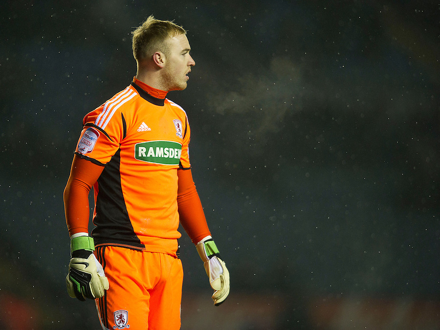 Middlesbrough's goalkeeper Jason Steele.- CREDIT - CameraSport - Stephen White..Football - npower Football League Championship - Leicester City v Middlesbrough - Friday 18th January 2013 - The King Power Stadium - Leicester..© CameraSport - 43 Linden Ave. Countesthorpe. Leicester. England. LE8 5PG - Tel: +44 (0) 116 277 4147 - admin@camerasport.com - www.camerasport.com