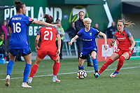Portland, OR - Saturday May 06, 2017: Megan Rapinoe during a regular season National Women's Soccer League (NWSL) match between the Portland Thorns FC and the Seattle Reign FC at Providence Park.