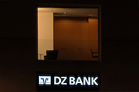 Logo and offices of the DZ Bank at night, Berlin, Germany. The DZ Bank or Deutsche Zentral Genossenschaftbank (German Central Cooperative Bank) is the fourth largest bank in Germany. Picture by Manuel Cohen